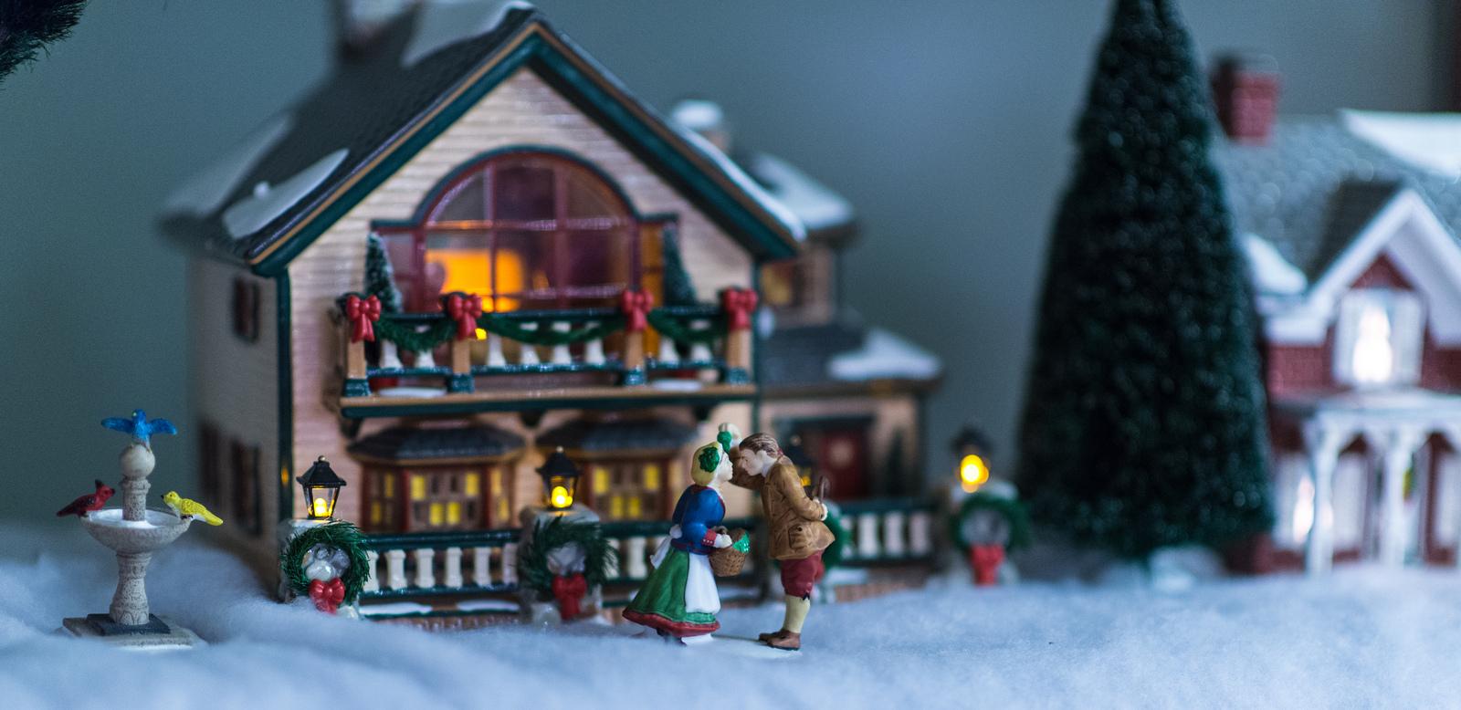 Kissing under the mistletoe at Christmas