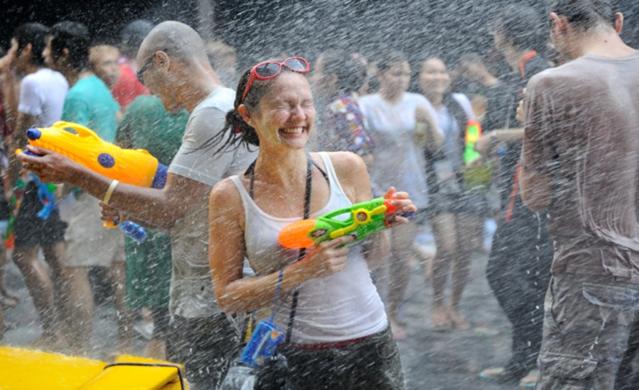Getting soaked at Songkran in Thailand