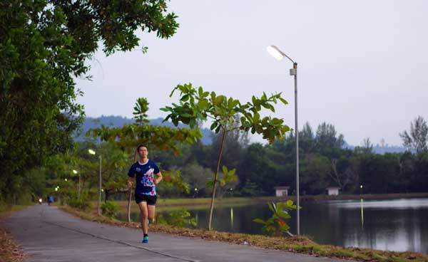 Running at sunset in Khao Lak